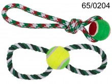 Teether for a dog, throwing toy - rope with a ball