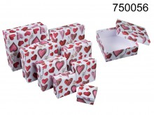 Set of 8 Boxes with Heart Pattern
