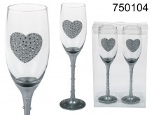 Champagne Glasses with Glitter Heart