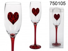 Champagne Glass with Red Heart