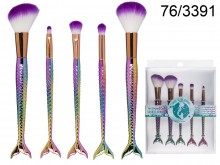 Set of 5 Make-Up Brushes - Mermaid