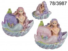 Mermaid with Treasure Chest in a Shell Money Box