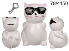 Ceramic piggy bank cat with XL glasses