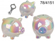 Ceramic piggy bank rainbow rainbow piggy. XL