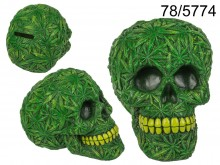 Money Box skull with marijuana leaf