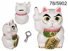 Angry Cat ceramic money box white