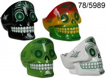 Skull Ashtray with Cannabis Theme