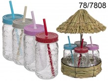 Tiki Style Glass Set with an Umbrella