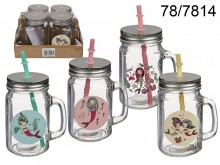 Mermaid Mason Jar with a Straw - 500 ml