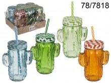 Cactus Vintage Jar with a Straw - 350 ml
