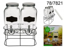 Double Drink Dispenser - 2 Vintage Jars