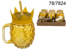 Pineapple Vintage Jar with a Straw - 500 ml