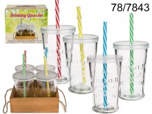Drinking Glasses with Straws (4 pieces)