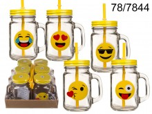 Emoticon Mason Jar with a Straw - 450 ml