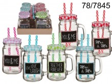 Mason Jar with 2 Straws