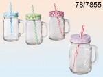 Mason Jar with a Straw - 450 ml