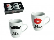 Mr. & Mrs. Porcelain Mugs
