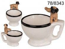 A restroom mug with a dog