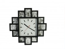 Wall Clock with 12 Picture Frames