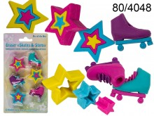 Skates and Stars Erasers