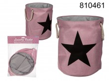 Fabric Laundry Bin - Pink with a Star
