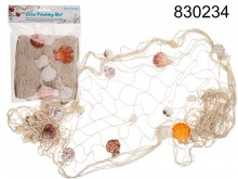 Decorative fishing net with seashells