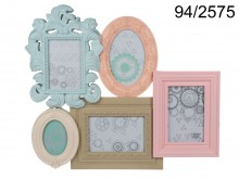 Antique Style Pastel Picture Frame for 5 Photos