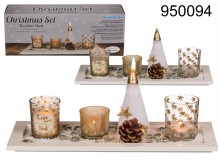 Candle Holders Set on Wooden Plate