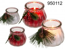 Christmas candle in glass with decoration