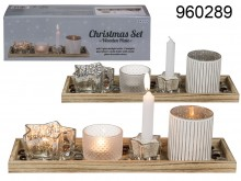 Candle Holders Set on XL Wooden Plate