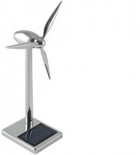 Metal Wind Turbine with Solar Battery - 18 cm